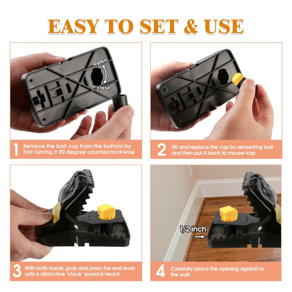 Mouse Trap, Snap Rat Trap That Work Outdoor or Indoor Powerful Sensitive Effective Killer Catcher 6 Pack 4