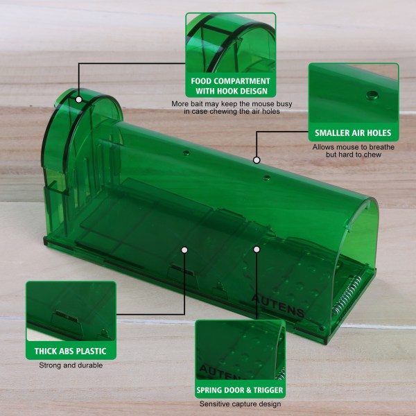 Humane Mouse Trap, Live Catch and Release, No Kill, Best for Small Rats, Mice, Hamsters, Mole - 2 Pack Green 3