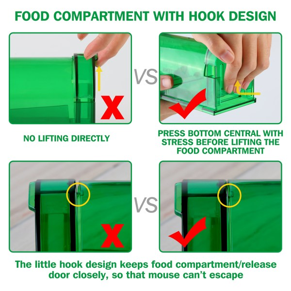 Humane Mouse Trap, Live Catch and Release, No Kill, Best for Small Rats, Mice, Hamsters, Mole - 2 Pack Green 4