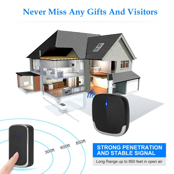 Wireless Doorbell Black for Home Classroom Business, 58 Melodies, 5 Levels Volume, 850 Ft Range 4