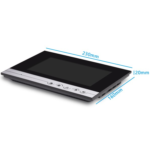 Video Intercom 7'' LCD Color Screen Wired Video Door Phone Audio Intercom with 700TVL CMOS Door Bell 10