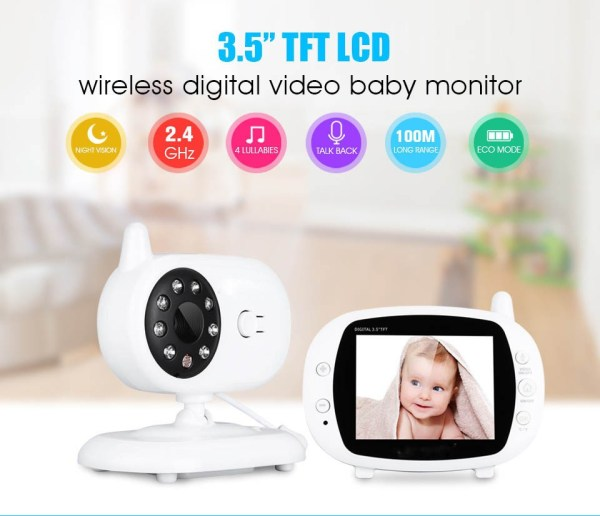 3.5inch Wireless Baby Monitor Support Temperature Detect Two Way Audio Video Intercom with Lullabies Baby Camera 5
