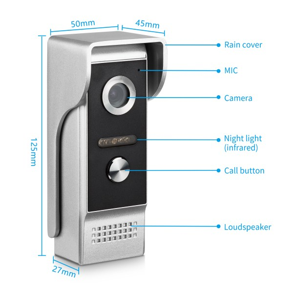 4.3inch Interphone Video Door Phone Intercom System  with IR Night Vision 700TVL 3