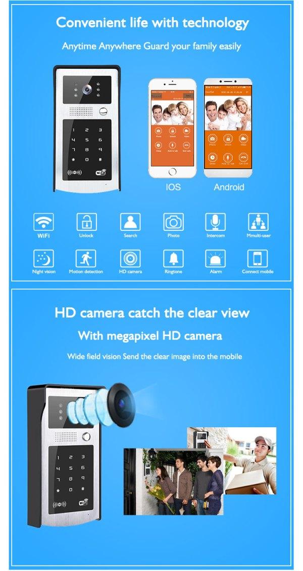 Wifi Door Phone Intercom Video Entrance Machine iOS Android support Remote Unlock 720P Doorbell Camera 3