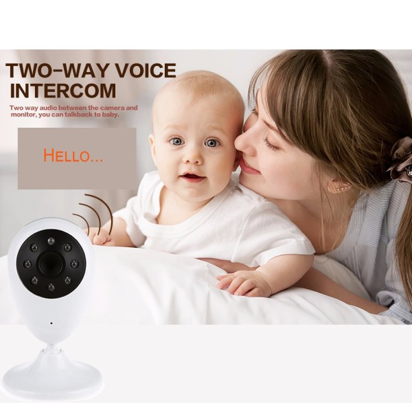 2.4G Wireless Baby Monitor Two-Way Audio Intercom Temperature Night Baby Monitor With 2.4inch LCD 7