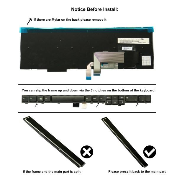 Replacement Keyboard for Lenovo ThinkPad T540 T540p L540 W540 W541 T550 W550 W550s T560 L560 L570 Laptop (6 Fixing Screws) 3