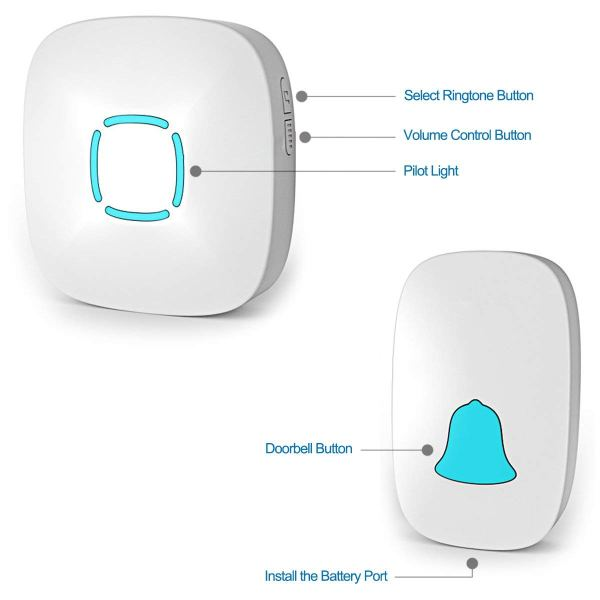Wireless Doorbell Chime Kit with 36 Chimes & 4 Adjustable Volume 1000ft Range 3