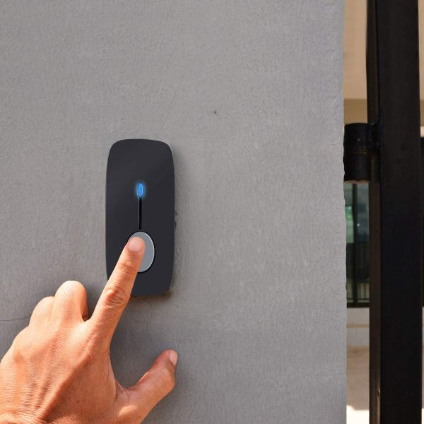 Wireless Doorbell Chime Kit Black with 4 Volume Level 52 Melodies Chimes 850ft Range 7