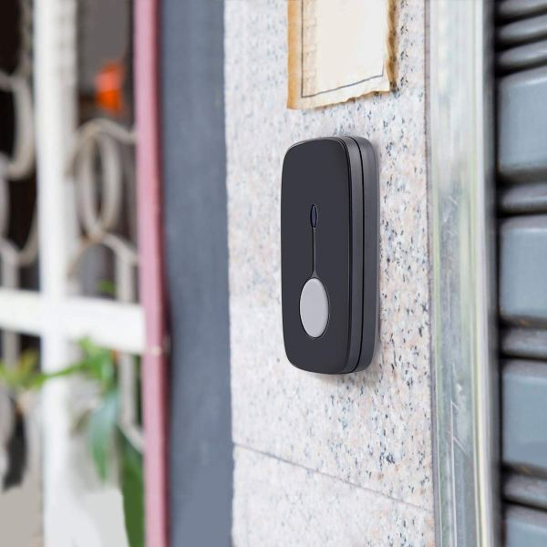 Wireless Doorbell Chime Kit Black with 4 Volume Level 52 Melodies Chimes 850ft Range 8