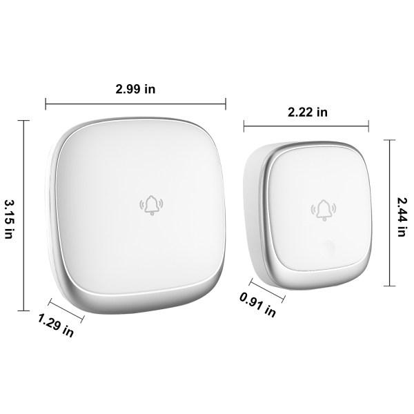 Self-Powered Wireless Doorbell Waterproof Colorful LED Flash 38 Chimes 4 Volumes 8