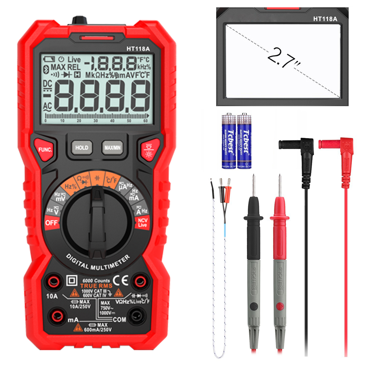 Advanced Digital Multimeter TRMS 6000 Counts Tester Non Contact Voltage  Detection Amp Ohm Volt Multi Meter Temperature, Live Line, with LCD Backlit