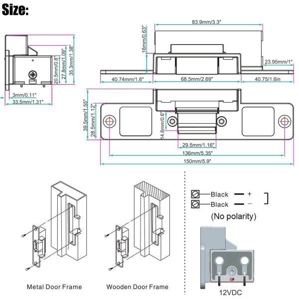 Electric Strike Door Lock for Access Control System Suitable for Wooden Door, Glass Door, Metal Door, Fireproof Door (NO-Open When Power ON) 5