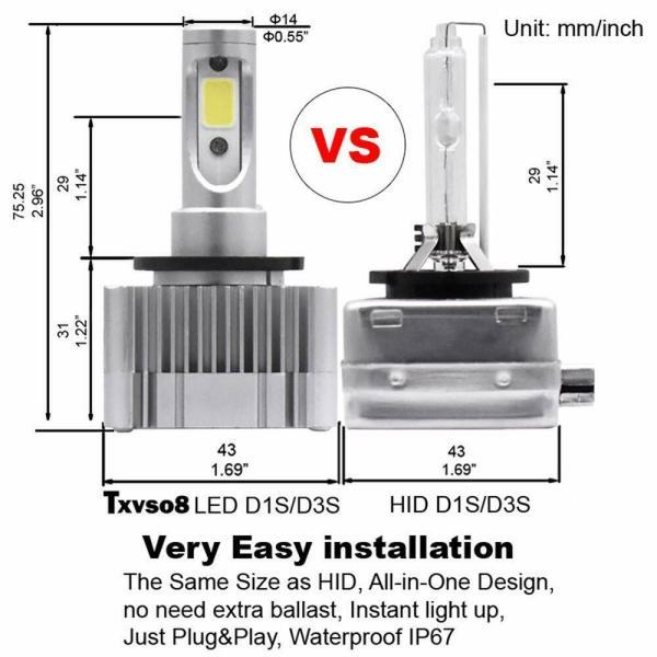 LED Replacement Bulb Diamond White 12V Car Headlight 55W 6000K D3S/D3R/D1S/D1R 2