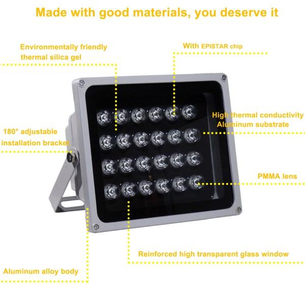 IR Illuminator 850nm 24-LED IR Infrared Light with Power Adapter for CCTV Camera (90 Degree) 4