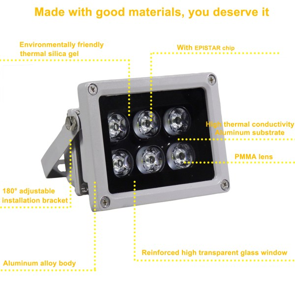 IR Illuminator 850nm 6-LEDs IR Infrared Light with Power Adapter for CCTV Camera (90 Degree) 4