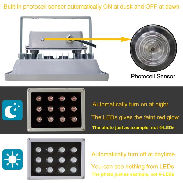 IR Illuminator 850nm 6-LEDs IR Infrared Light with Power Adapter for CCTV Camera (90 Degree) 5