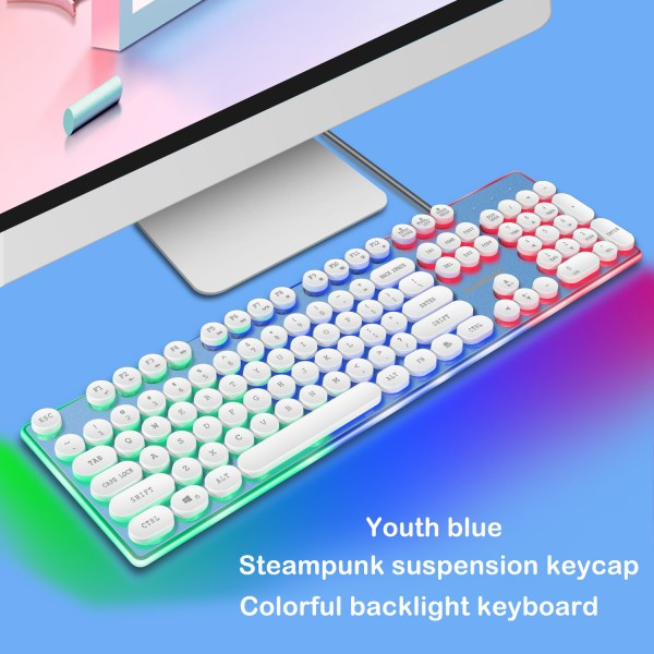 Gaming Keyboard Mechanical Feeling USB Wired RGB Colorful Backlight 104 Key for PC Mac Laptop 3