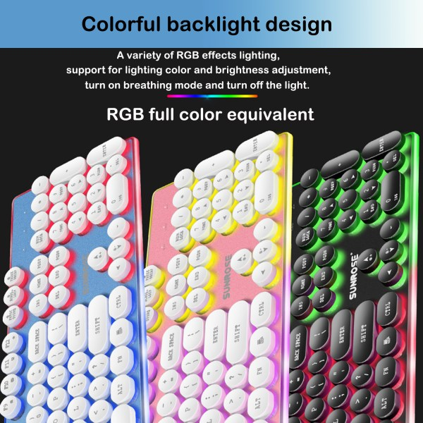 Gaming Keyboard Mechanical Feeling USB Wired RGB Colorful Backlight 104 Key for PC Mac Laptop 9