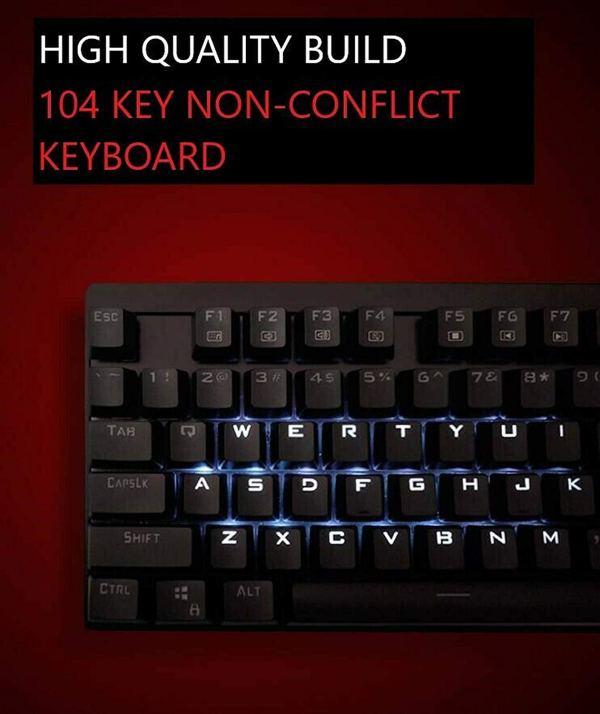 Mechanical Gaming Keyboard for Lenovo MK310 RGB Backlight USB Wired Keyboard 104 Keys Anti-ghosting Waterproof 6