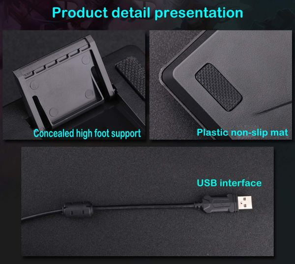 Gaming Keyboard Mechanical Feeling USB Wired Rainbow Backlight Standard 104 Key 7