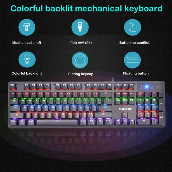 Mechanical Gaming Keyboard Rainbow LED Backlit USB Wired Keyboard Blue Switch Spill-Resistant 2