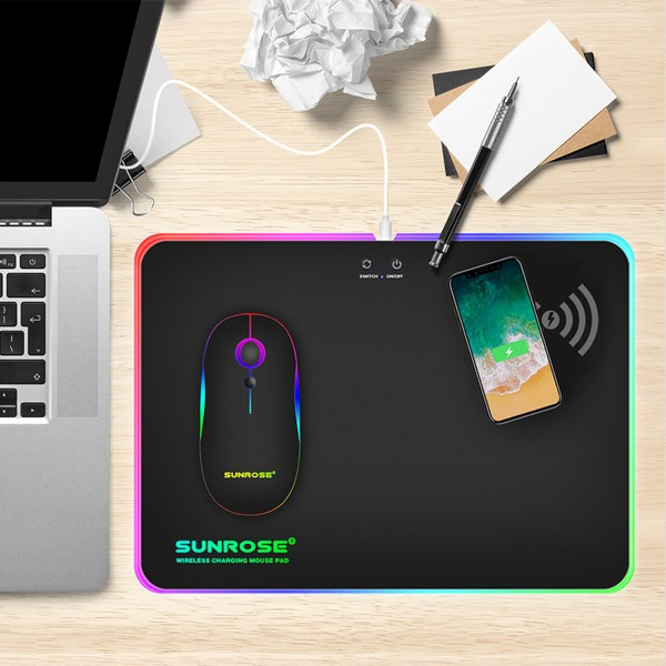 RGB Mouse Pad Qi 10W Fast Wireless Phone Charging LED Backlit Gaming Mouse Mat 2