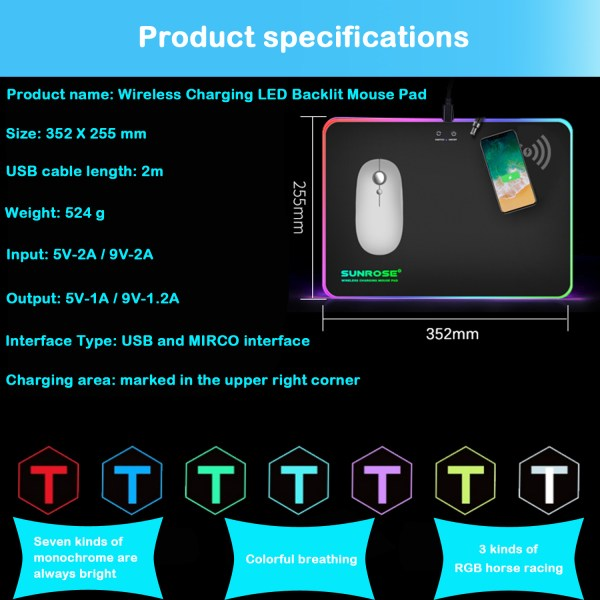 RGB Mouse Pad Qi 10W Fast Wireless Phone Charging LED Backlit Gaming Mouse Mat 6