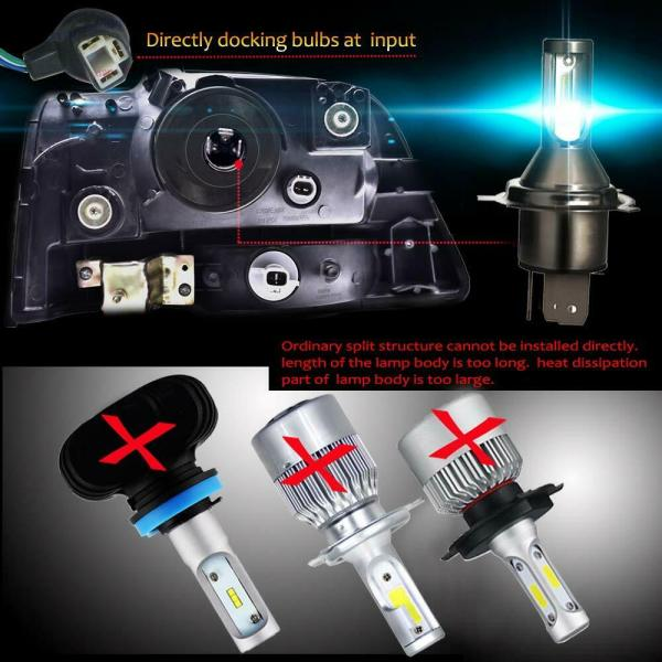 LED Headlight Conversion Kit H4 110W 26000LM 6000K Bulbs Hi/Lo Beam Auto Lamps 4