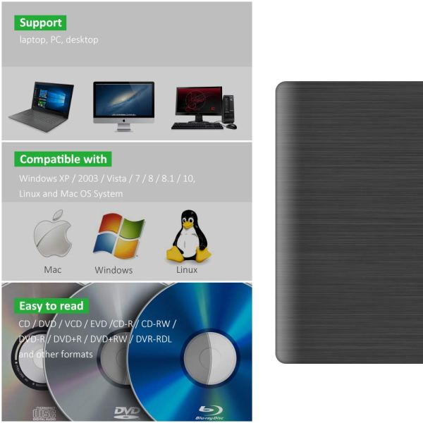 External CD DVD Drive USB 3.0 Portable Fits for DVD-R DVD-RW DVD+R DVD+RW DVD-ROM Super Speed Data Transfer 5