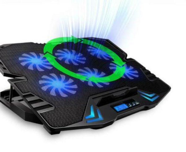 Laptop Cooling Pad Cooler 6 Fans 2 USB Port LCD Screen Fits 12-15.6 Inch Laptop 4