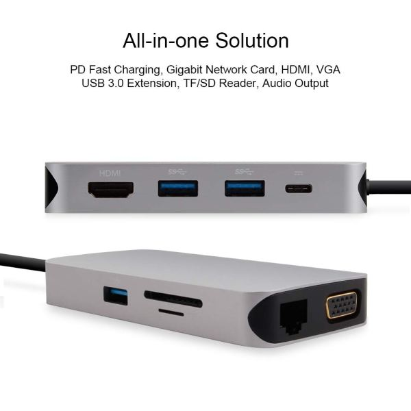 USB C Hub, 10 in 1 Type-C Hub with Gigabit Ethernet Port, USB C to 3 USB 3.0 Ports, 4K HDMI, VGA, SD/TF Card Reader, Type-C PD Charging and AUX Port 4