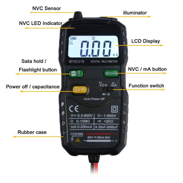 Mini Digital Multimeter,Portable Hand held Tester for Resistance Capacitance Auto Smart Detector 2