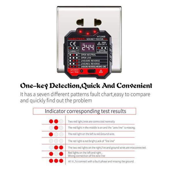 Socket Tester Plug Circuit Analyzer Power Socket Electric Circuit Polarity Voltage Detector 3