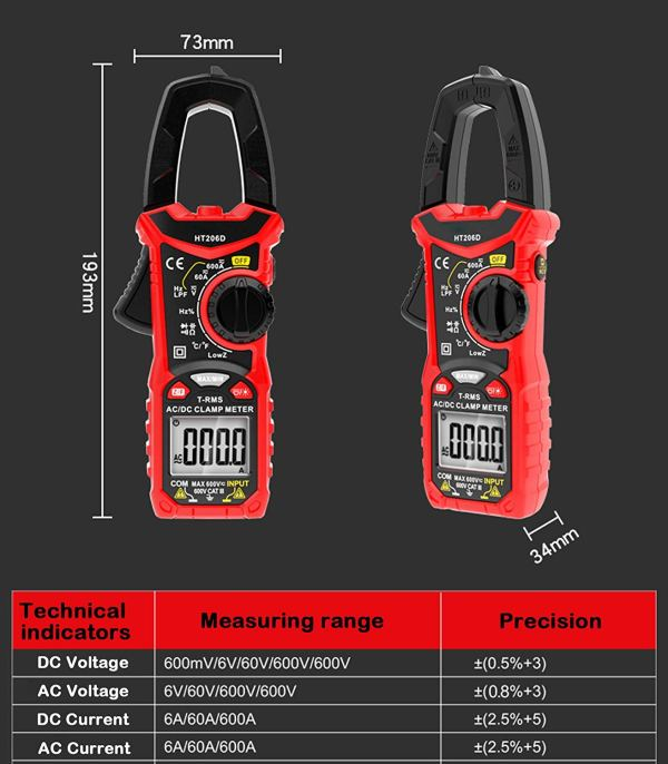 Digital Clamp Meter 6000 Counts True RMS Auto Range NCV AC / DC Current Voltage Resistance Capacitance Frequency Tester 3
