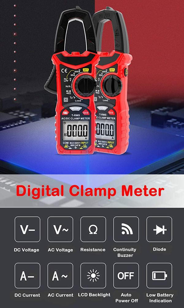 Digital Clamp Meter 6000 Counts True RMS Auto Range NCV AC / DC Current Voltage Resistance Capacitance Frequency Tester 4