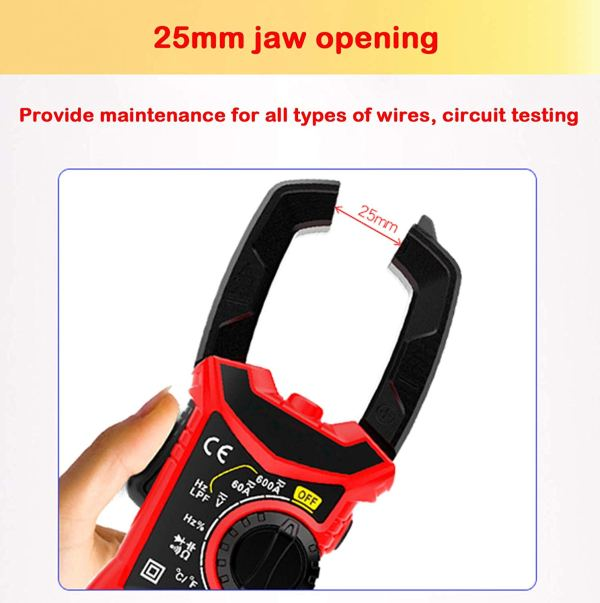 Digital Clamp Meter 6000 Counts True RMS NCV AC/DC Voltage and AC Current Resistance Capacitance Frequency Tester 5