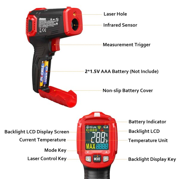 Infrared Thermometer Tester, Non-Contact IR Digital Temperature Gun for Range -50°C~550°C / -58°F~1022°F with Adjustable Emissivity, Color LCD Screen, Alarm Setting 2