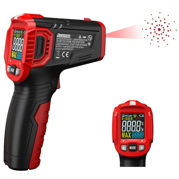 Infrared Thermometer Tester, Non-Contact IR Digital Temperature Gun for Range -50°C~550°C / -58°F~1022°F with Adjustable Emissivity, Color LCD Screen, Alarm Setting 1