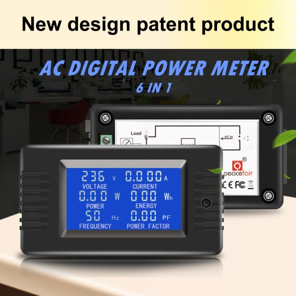 AC Digital Meter AC 80-260V 100A Current Voltage Power Energy Panel Monitor Detector LCD Digital Display Ammeter Voltmeter Multimeter with Split Core Current Transformer CT 2