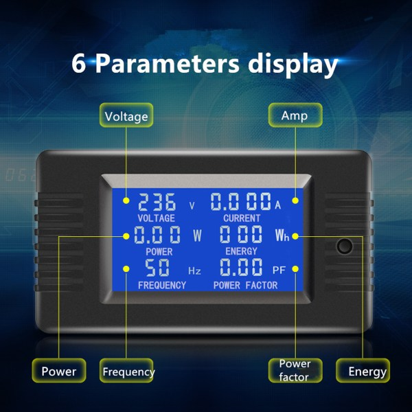 AC Digital Meter AC 80-260V 100A Current Voltage Power Energy Panel Monitor Detector LCD Digital Display Ammeter Voltmeter Multimeter with Split Core Current Transformer CT 3