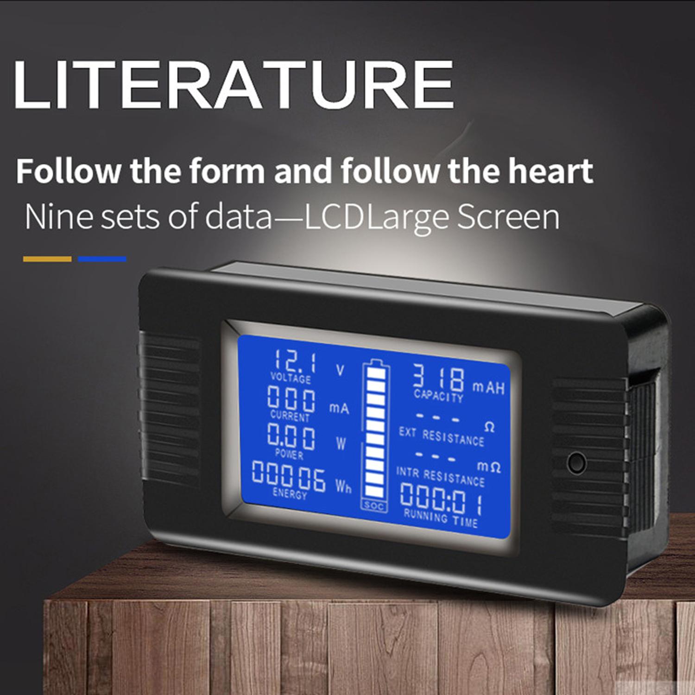 LCD Display DC Battery Monitor Meter 0-200V Voltmeter Ammeter For RV Solar Car