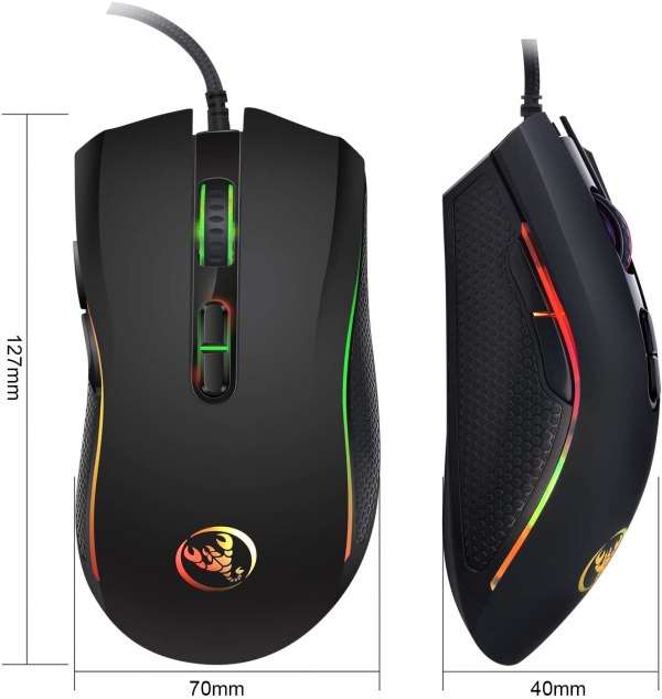 HXSJ A869 Wired Gaming Mouse, 7 Programmable Buttons, 7 Bright Colors LED and Ergonomics Design 5