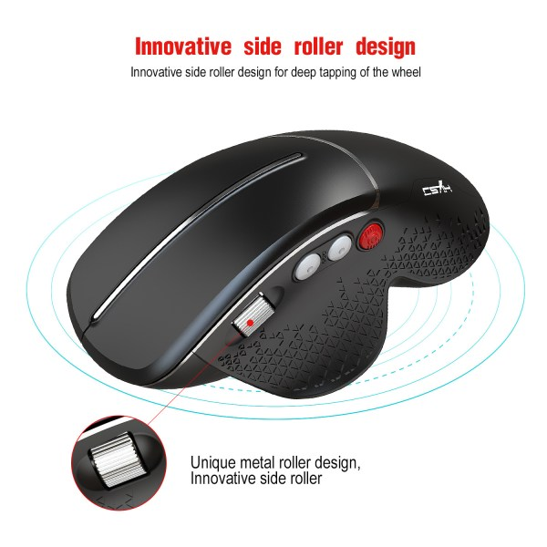 HXSJ T32 2.4GHz Wireless Mouse Optical Wireless Gaming Vertical Mute Mice 6 Keys, Four-Speed DPI Adjustable 5