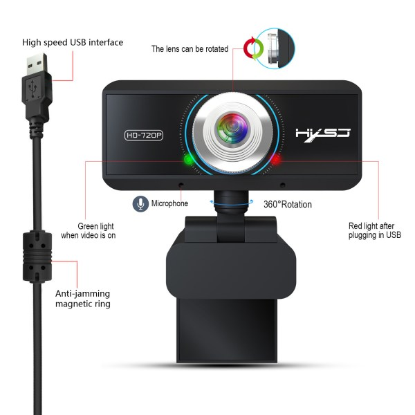 HD 720P Computer Camera, Laptop PC Webcam with Sound Absorbing Microphone 2