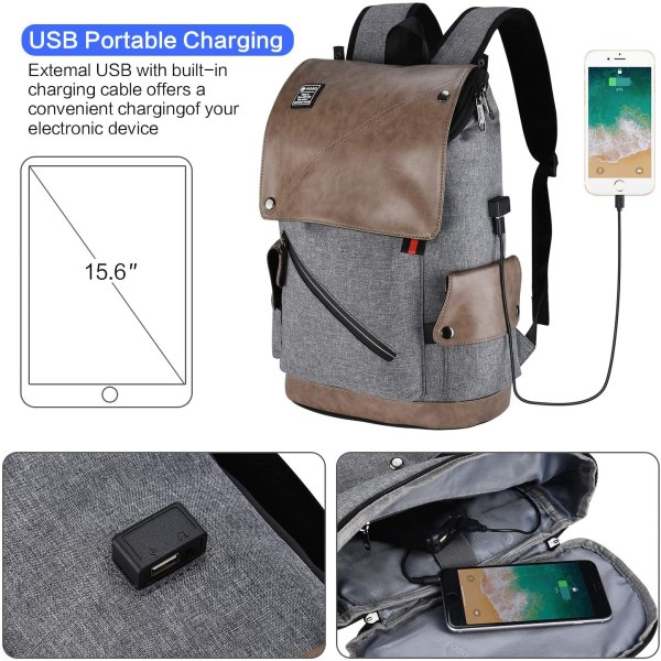 POSO Laptop Backpack 15.6 Inch Water-Repellent Computer Bag with USB Charging Port for Men Women 10