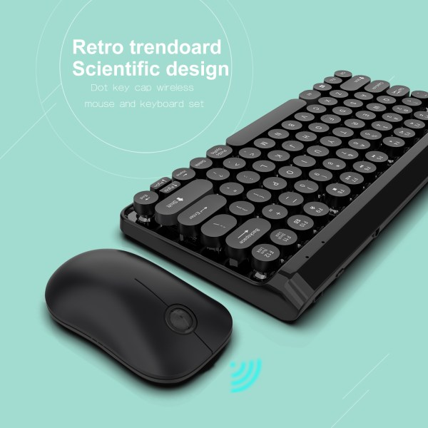 2.4G Wireless Keyboard and Mouse Combo Punk Keycap 77 Keys 10