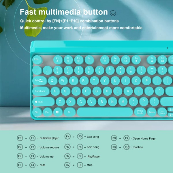2.4G Wireless Keyboard and Mouse Combo Punk Keycap 77 Keys 8