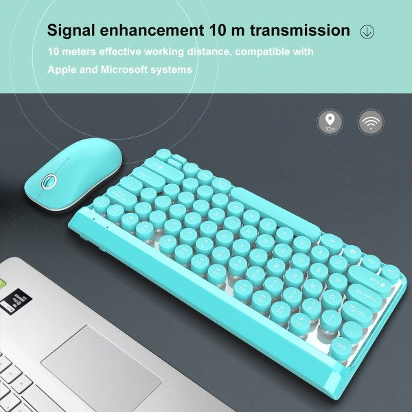 2.4G Wireless Keyboard and Mouse Combo Punk Keycap 77 Keys 7