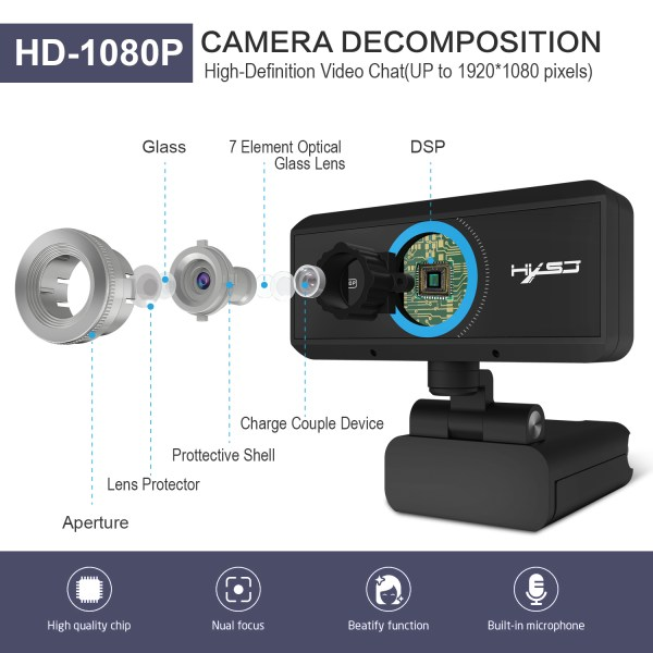 HD 1080P Computer Camera, Laptop PC Webcam with Sound Absorbing Microphone 3