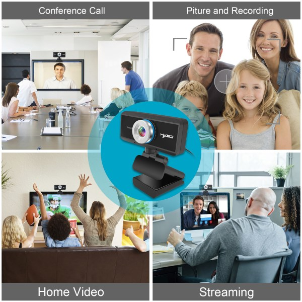 HD 1080P Computer Camera, Laptop PC Webcam with Sound Absorbing Microphone 5